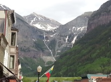 Telluride waterfall from town